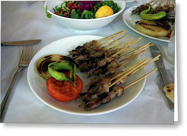 Plate Of Kebabs And Salad For Lunch Greeting Card