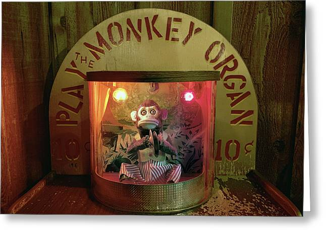 Play The Monkey Organ Greeting Card