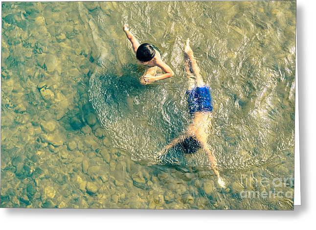 Playful Children Swimming In Nam Song Greeting Card