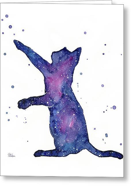 Playful Galactic Cat Greeting Card