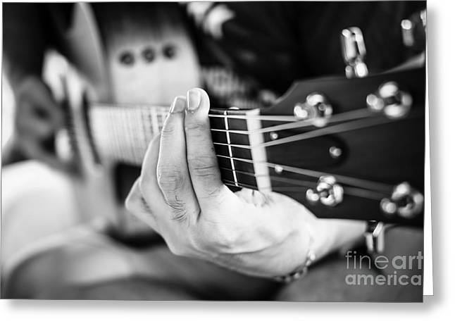 Playing Guitar Close Up. Selective Greeting Card