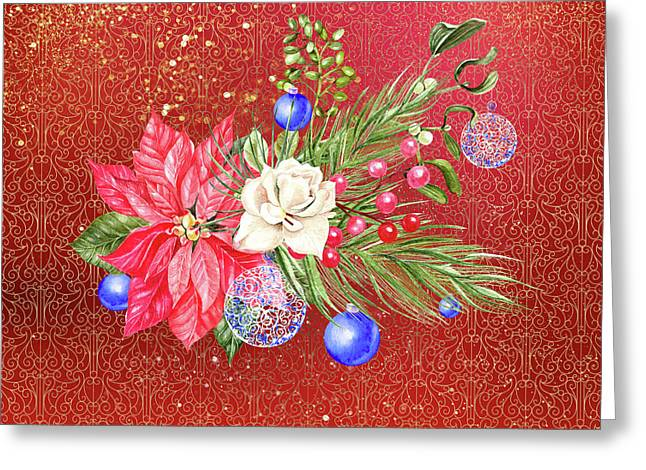 Poinsettia With Blue Ornaments  Greeting Card