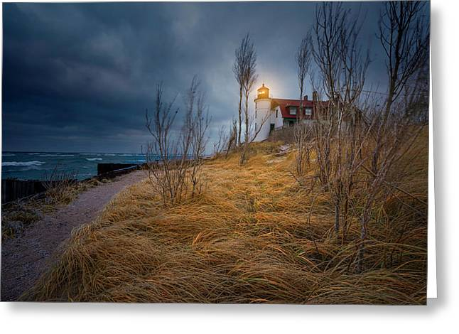 Point Betsie Lighthouse In Frost Greeting Card