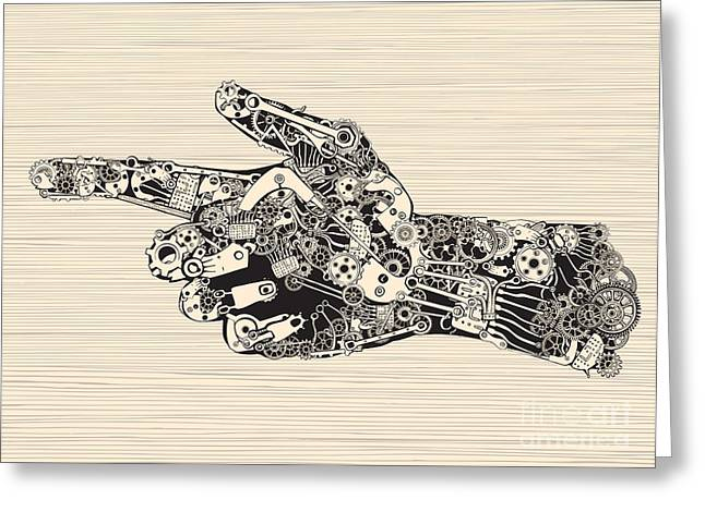 Pointing Finger Mechanic Hand Greeting Card