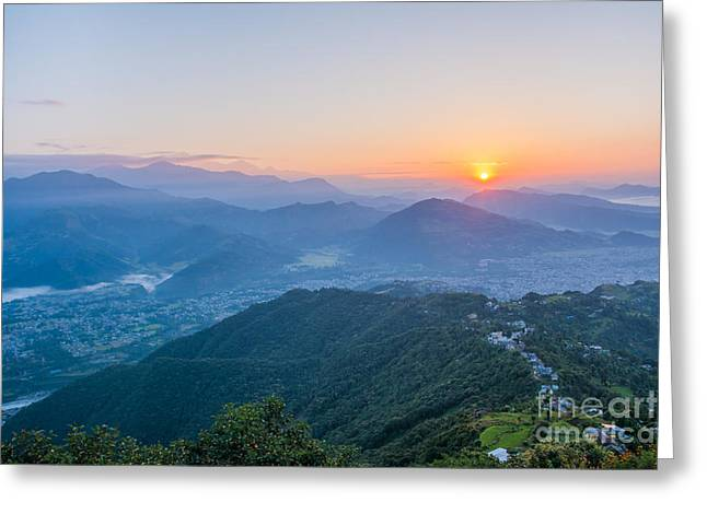Pokhara Sunrise At Sarangkot Hill With Greeting Card
