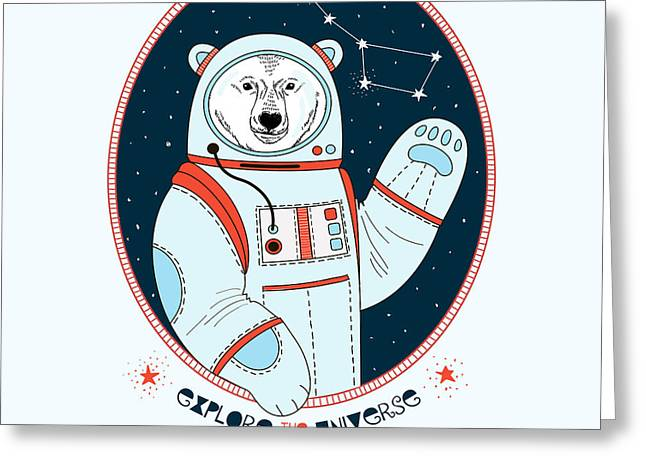 Polar Bear Astronaut In Outer Space Greeting Card
