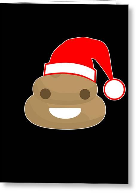 Greeting Card featuring the digital art Poop Emoji Santa by Flippin Sweet Gear