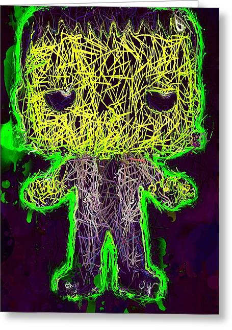 Greeting Card featuring the mixed media Frankenstein Pop 2 by Al Matra