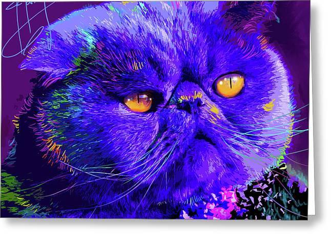 pOpCat Captain Blue Chip Greeting Card