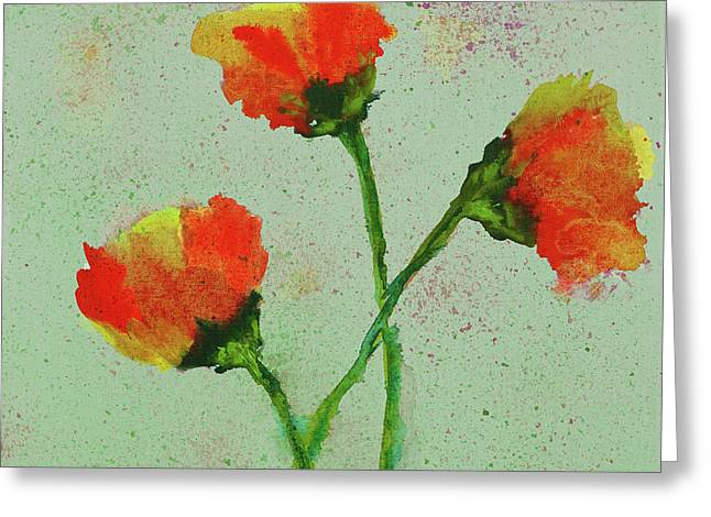 Greeting Card featuring the painting Poppies by Karen Fleschler