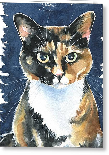 Poppy Calico Cat Painting Greeting Card