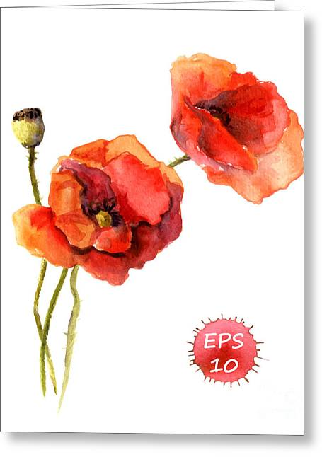 Poppy Flower. Watercolor Vector Greeting Card