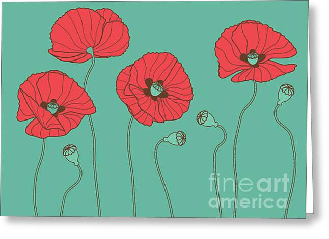 Poppys - Vector Illustration Greeting Card