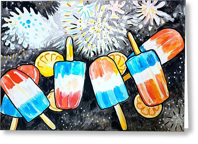 Popsicles And Fireworks Greeting Card