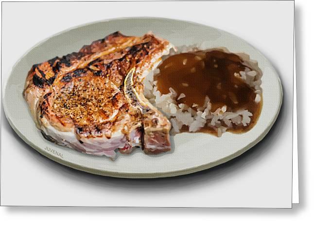 Pork Chop And Rice Greeting Card