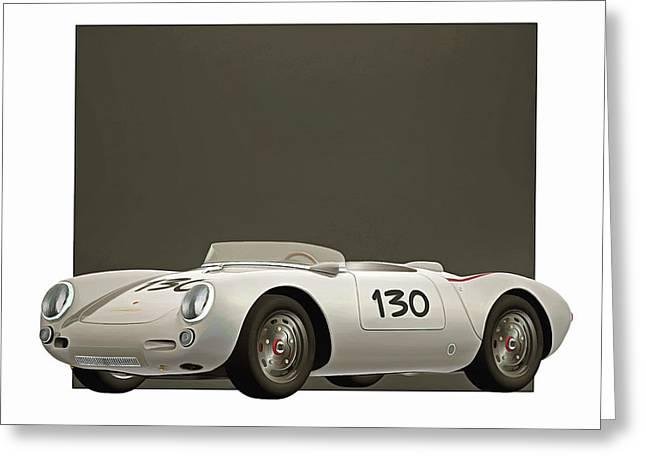 Greeting Card featuring the digital art Porsche 550a Spyder 1956 by Jan Keteleer