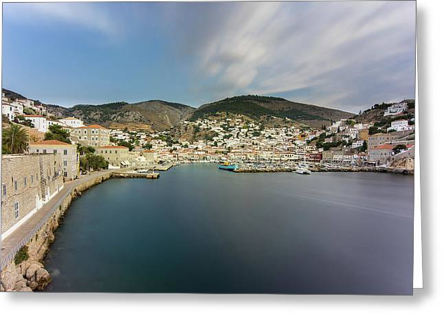Port At Hydra Island Greeting Card