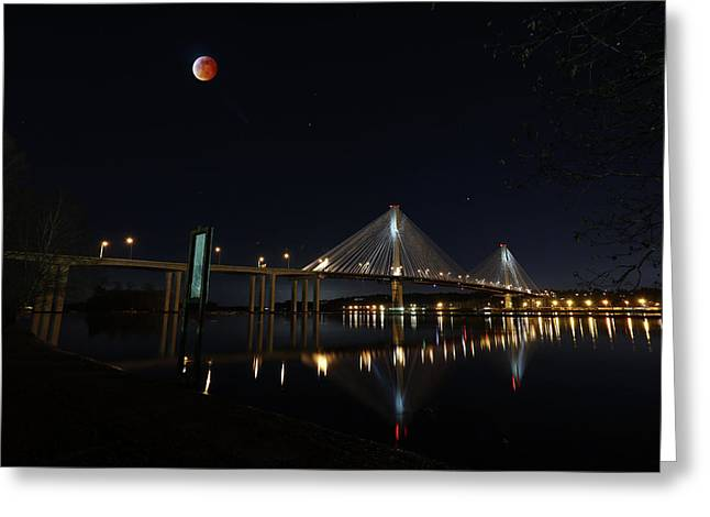 Port Mann Bridge With Blood Moon Greeting Card