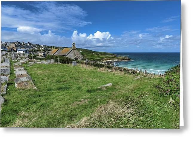 Porthmeor From Barnoon - St Ives Cornwall Greeting Card