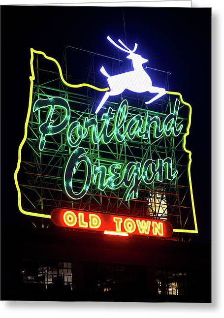 Greeting Card featuring the photograph Portland White Stag Sign 11318 by Rospotte Photography