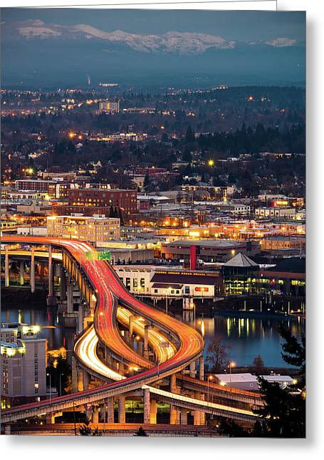 Greeting Card featuring the photograph Portland At Night by Nicole Young