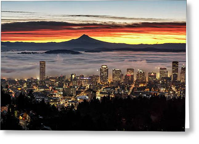 Portland Foggy Sunrise Greeting Card