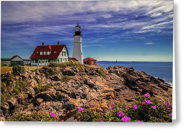 Portland Head Lighthouse Greeting Card by Andrew Soundarajan