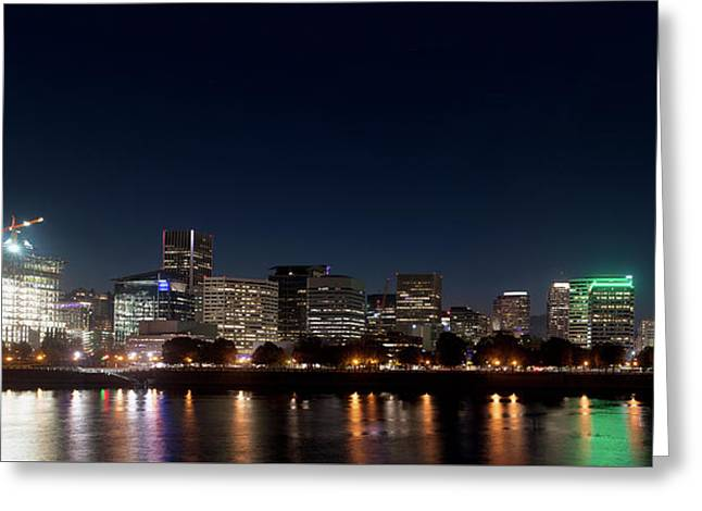 Greeting Card featuring the photograph Portland Oregon Skyline V2 by Rospotte Photography