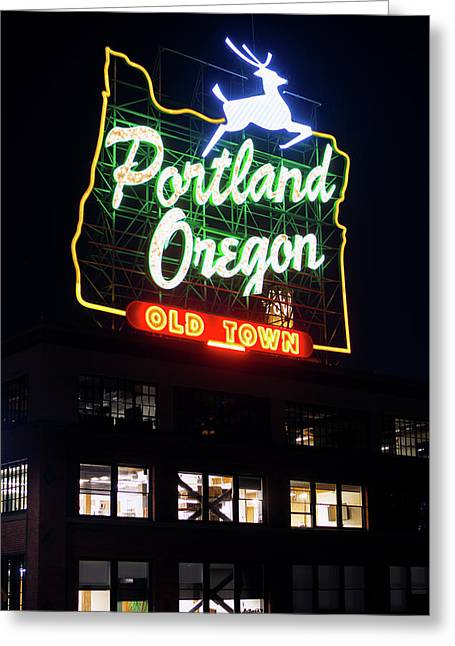 Greeting Card featuring the photograph Portland Oregon White Stag Sign 1123 by Rospotte Photography