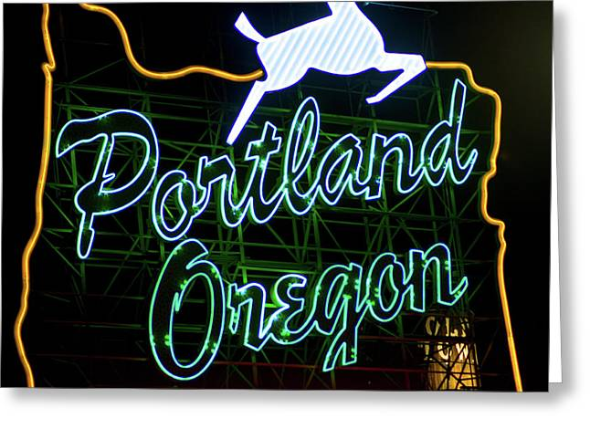 Greeting Card featuring the photograph Portland White Stag Sign 102518 by Rospotte Photography
