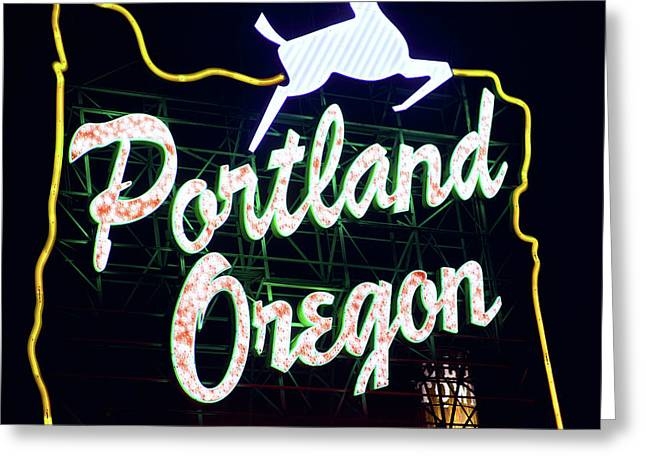 Greeting Card featuring the photograph Portland White Stag Sign 1118 by Rospotte Photography