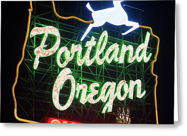 Greeting Card featuring the photograph Portland Whitestag Neon Gold 119 by Rospotte Photography