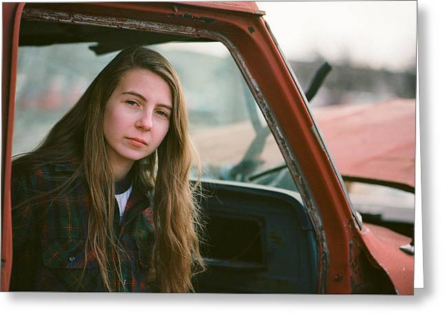 Portrait In A Truck Greeting Card