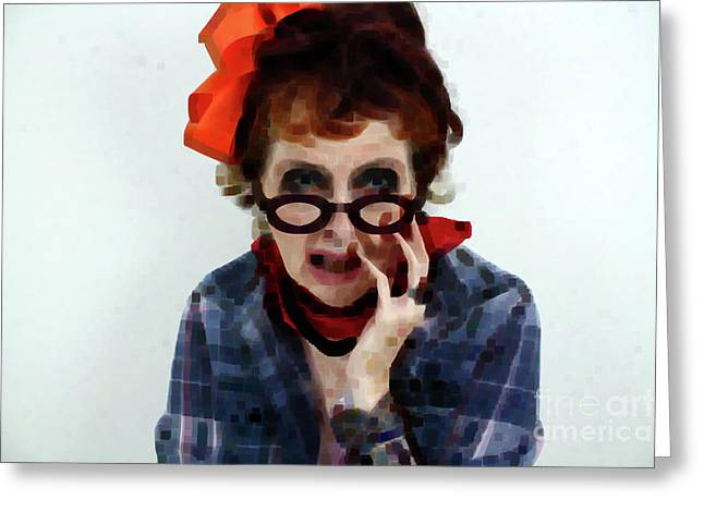 Portrait In Question  Greeting Card by Steven Digman