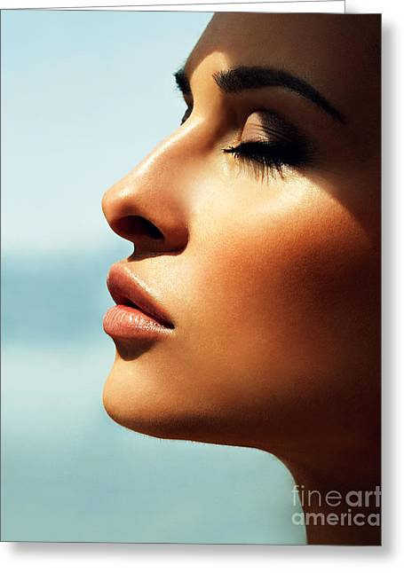 Portrait Of A Beautiful Girl Greeting Card