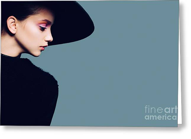 Portrait Of Beautiful Girl In Hat In Greeting Card