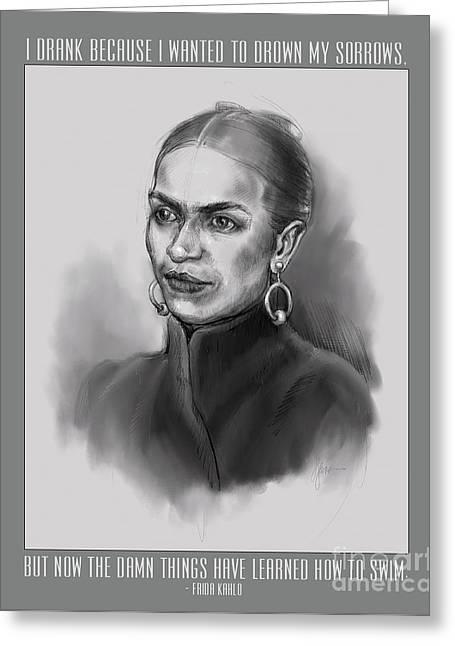 Portrait Of Frida Kahlo Greeting Card