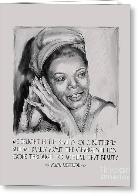 Greeting Card featuring the painting Portrait Of Maya Angelou by Lora Serra