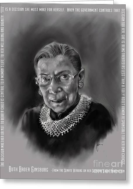 Portrait Of Ruth Bader Ginsburg Greeting Card