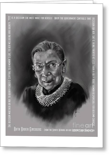 Greeting Card featuring the mixed media Portrait Of Ruth Bader Ginsburg by Lora Serra