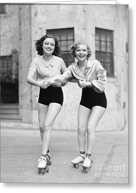 Portrait Of Two Young Women With Roller Greeting Card