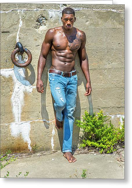 Portrait Of  Young Black Fitness Guy Greeting Card