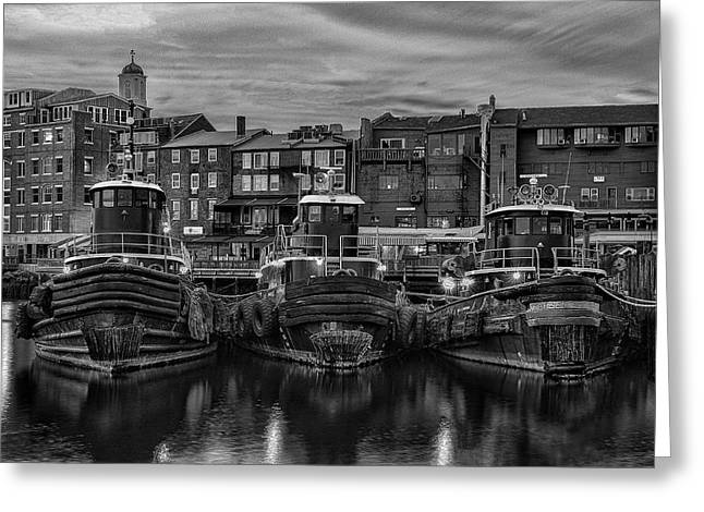 Portsmouth Tugboats At Dawnt In Black And White Greeting Card