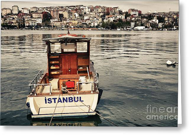 Postcard From Istanbul. Motor Boat By Greeting Card