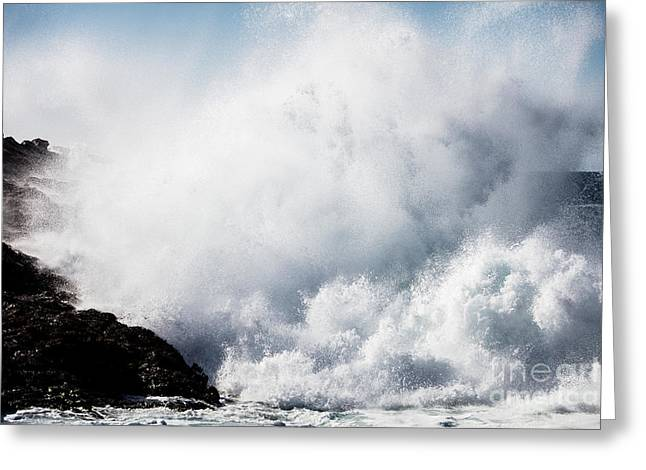 Powerful Waves Explode Against The Greeting Card