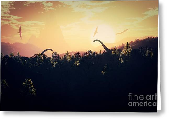 Prehistoric Jungle With Dinosaurs In Greeting Card