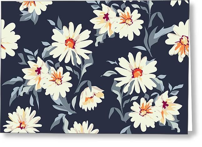 Pretty Daisy Floral Print ~ Seamless Greeting Card