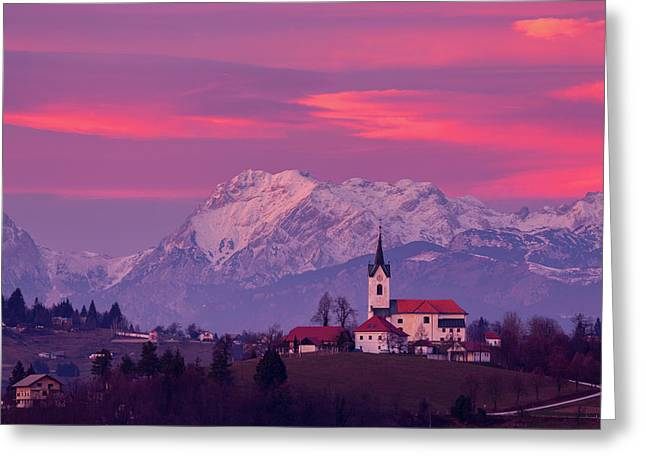 Prezganje Church With Snowy Kamnik Alps At Sunset Greeting Card