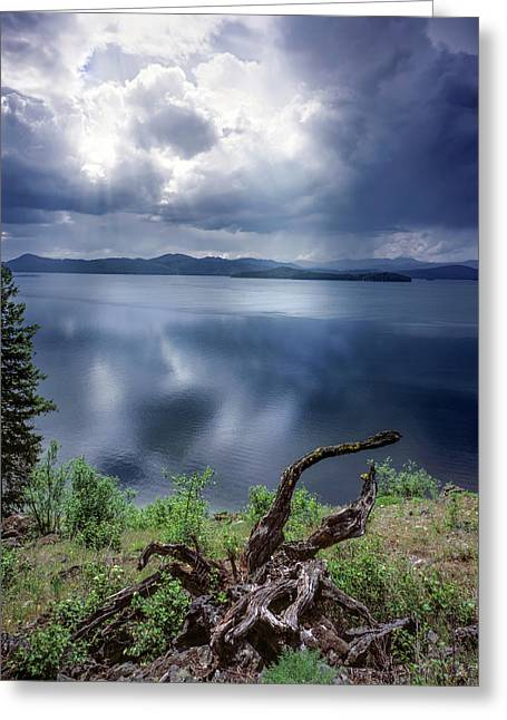 Priest Lake Light Greeting Card by Leland D Howard