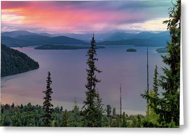 Priest Lake Sunset View Greeting Card by Leland D Howard